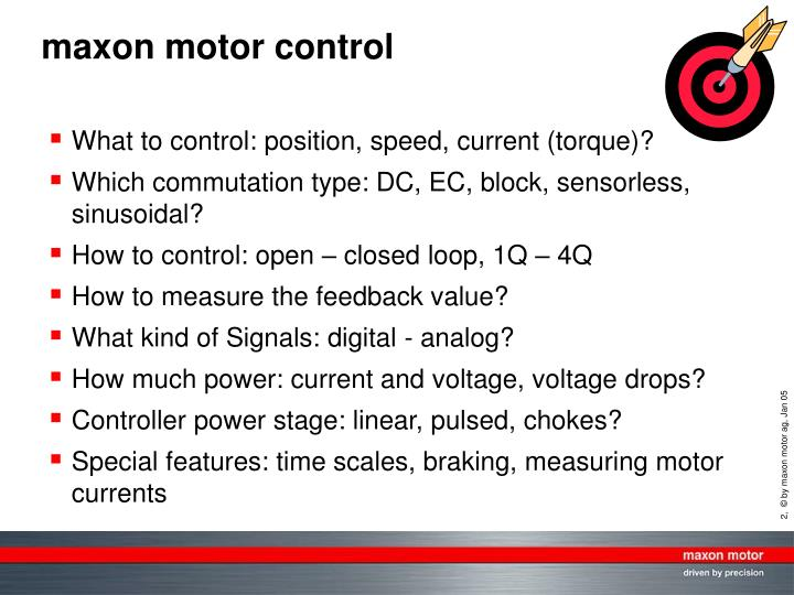 What to control: position, speed, current (torque)?