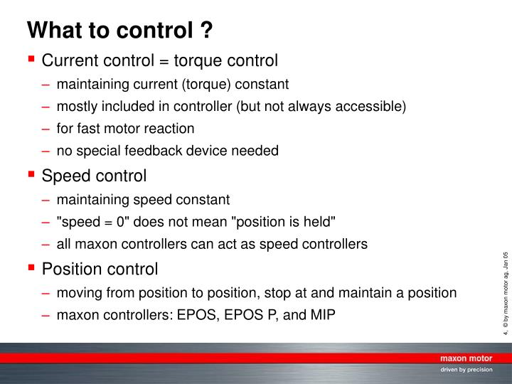 What to control ?