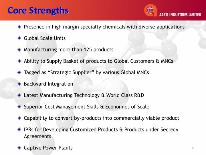 Presence in high margin specialty chemicals with diverse applications
