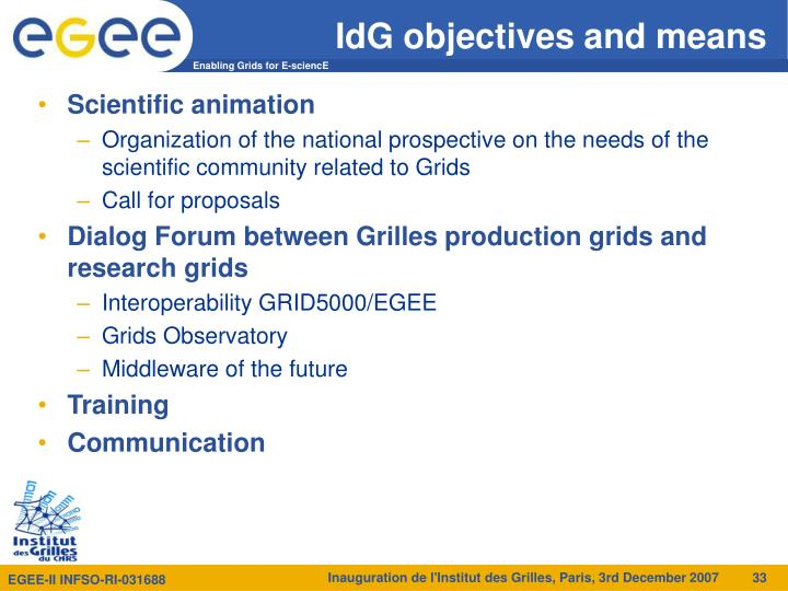 IdG objectives and means