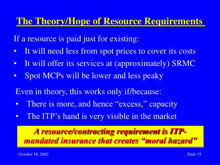 The Theory/Hope of Resource Requirements
