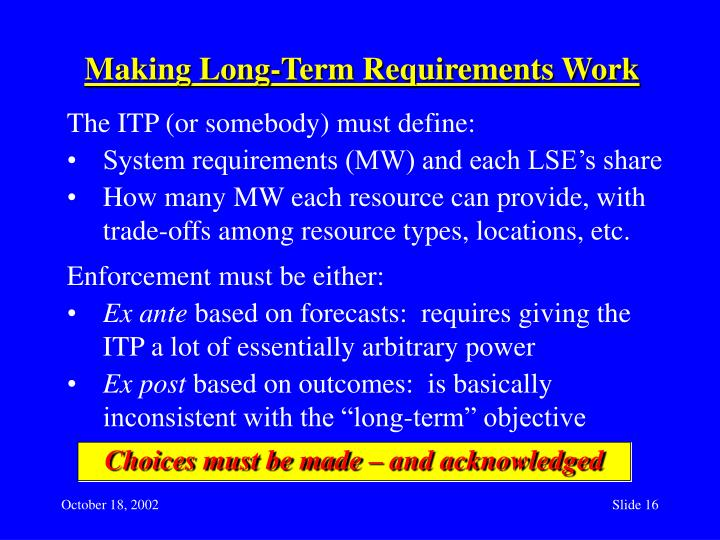 Making Long-Term Requirements Work