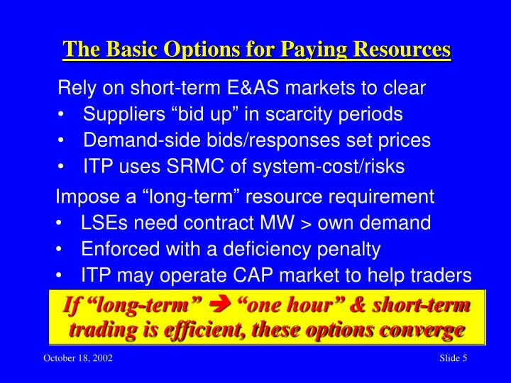 The Basic Options for Paying Resources