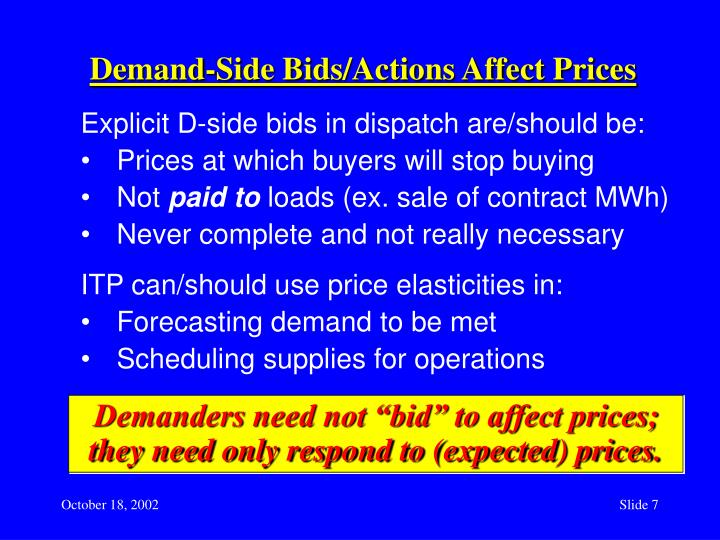 Demand-Side Bids/Actions Affect Prices