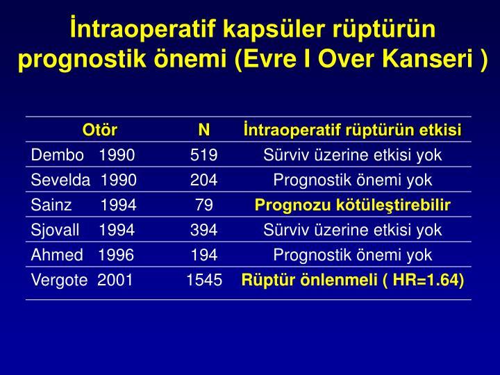 İntraoperatif kapsüler rüptürün prognostik önemi (Evre I Over Kanseri )
