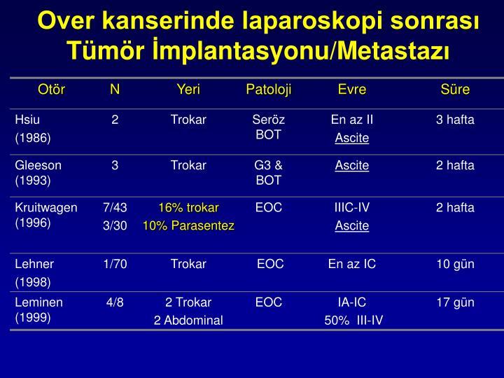 Over kanserinde laparoskopi sonrası