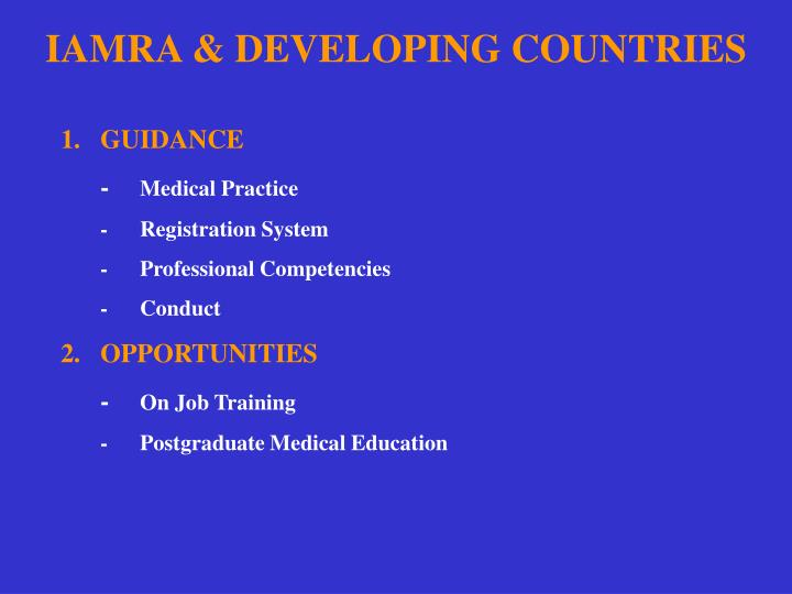 IAMRA & DEVELOPING COUNTRIES