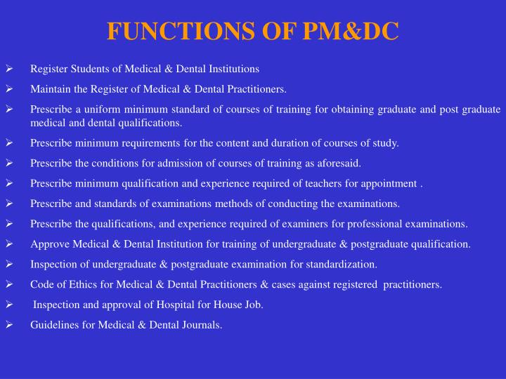FUNCTIONS OF PM&DC
