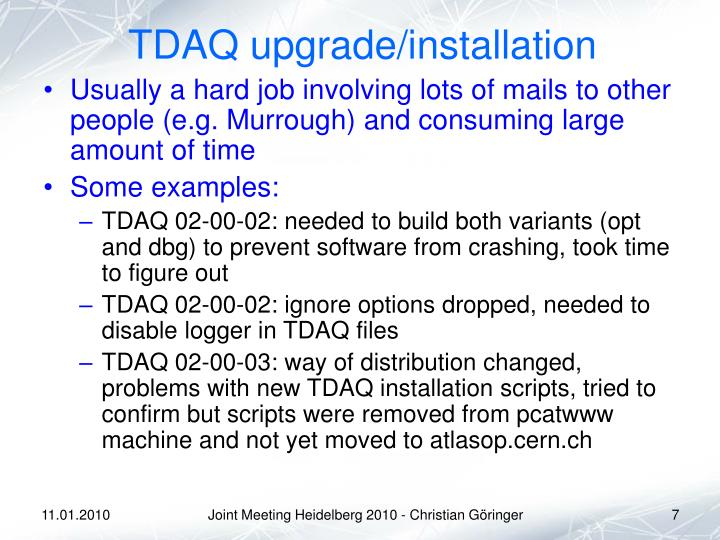 TDAQ upgrade/installation