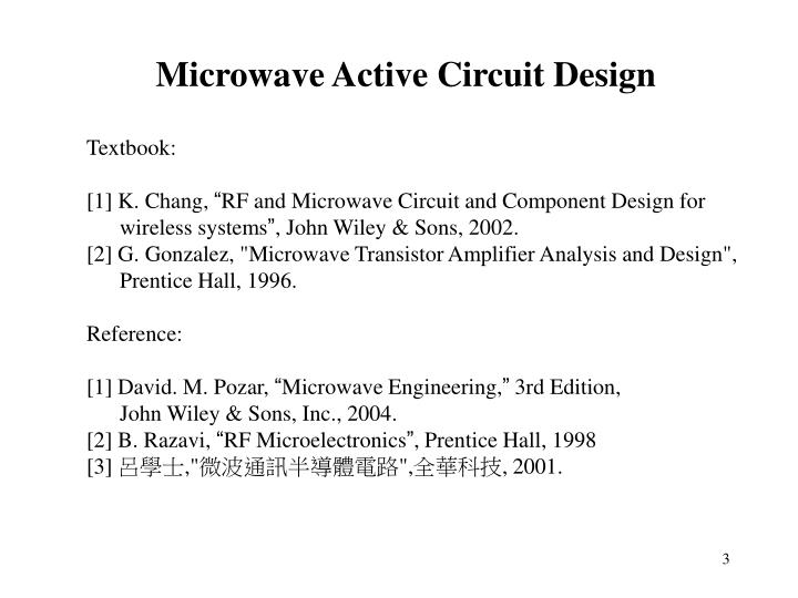 Microwave Active Circuit Design