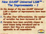 new saarf universal lsm the improvements 1