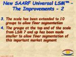 new saarf universal lsm the improvements 2