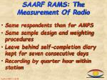 saarf rams the measurement of radio