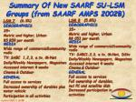 summary of new saarf su lsm groups from saarf amps 2002b3