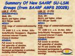 summary of new saarf su lsm groups from saarf amps 2002b4