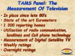 tams panel the measurement of television