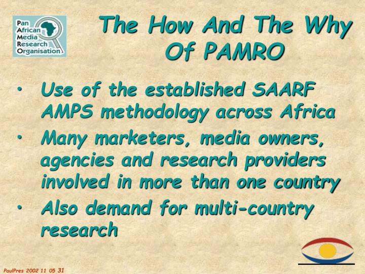 Use of the established SAARF AMPS methodology across Africa