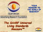 the saarf universal living standards measure
