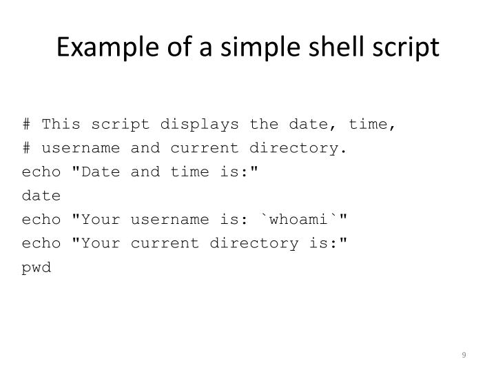 Example of a simple shell script