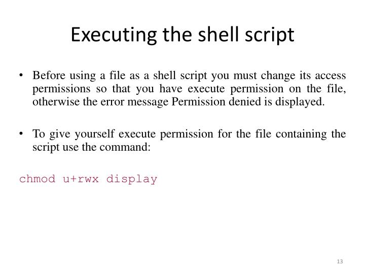 Executing the shell script