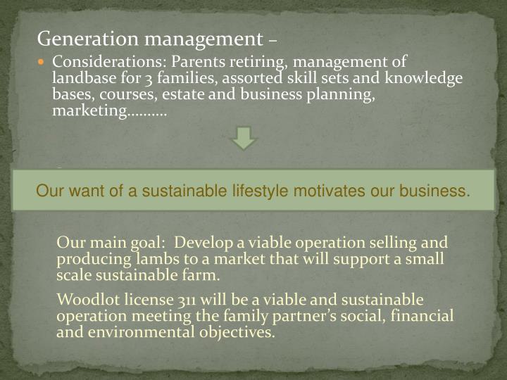 Generation management