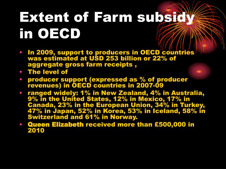 Extent of Farm subsidy in OECD