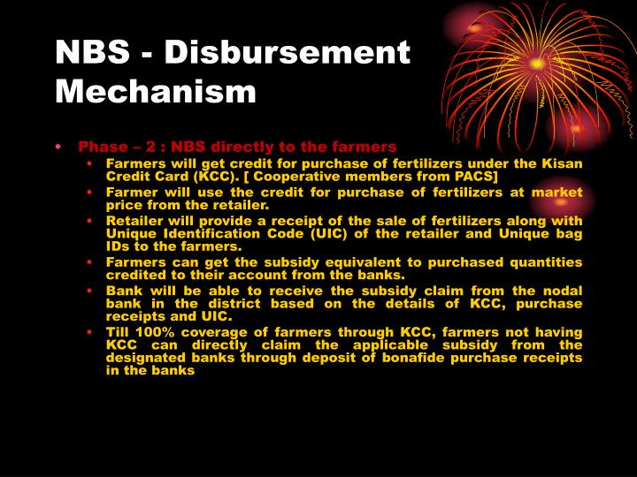 NBS - Disbursement Mechanism