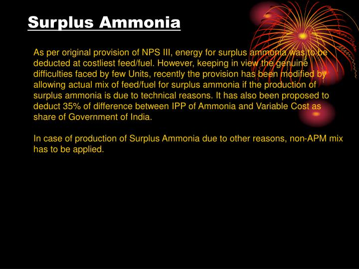 Surplus Ammonia