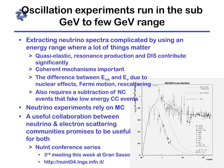Oscillation experiments run in the sub GeV to few GeV range