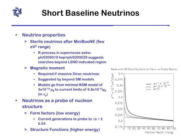 Short Baseline Neutrinos