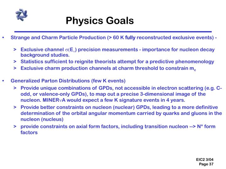 Physics Goals