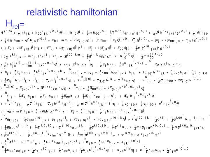 relativistic hamiltonian