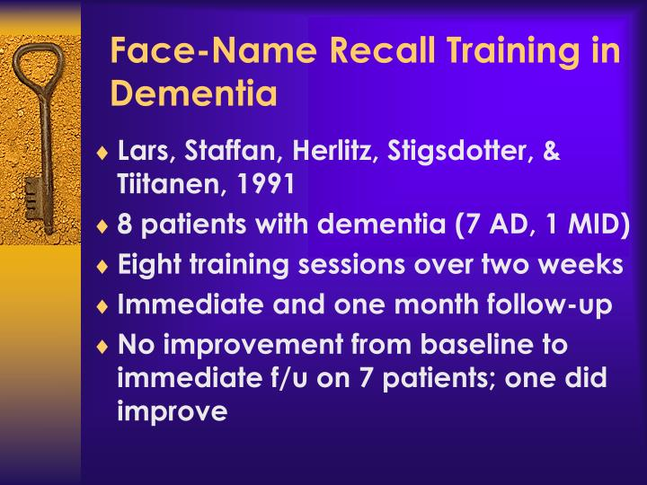 Face-Name Recall Training in Dementia
