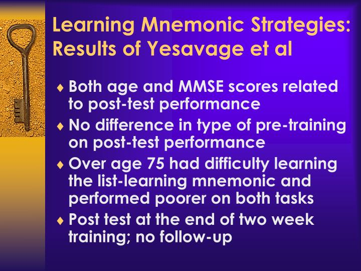 Learning Mnemonic Strategies: Results of Yesavage et al