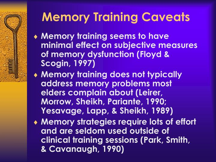 Memory Training Caveats