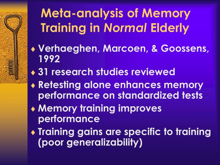 Meta-analysis of Memory Training in
