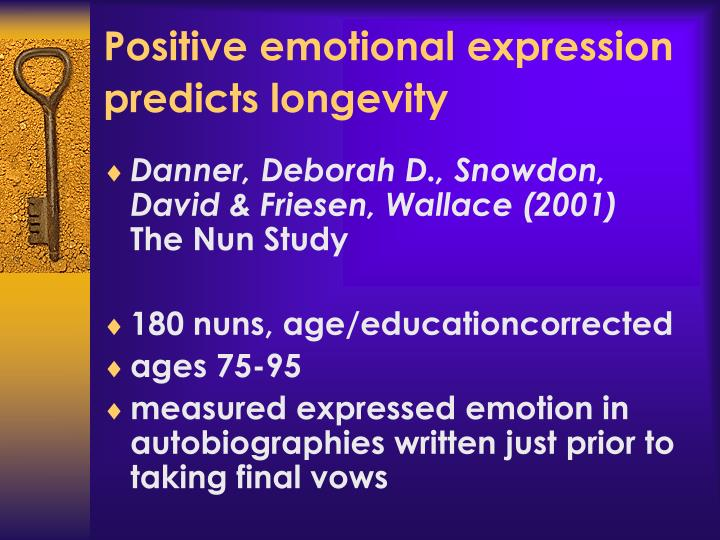 Positive emotional expression predicts longevity