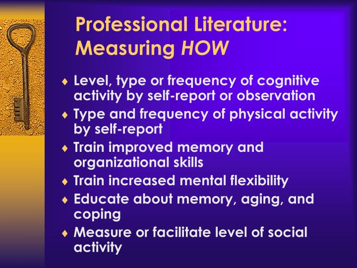 Professional Literature:  Measuring
