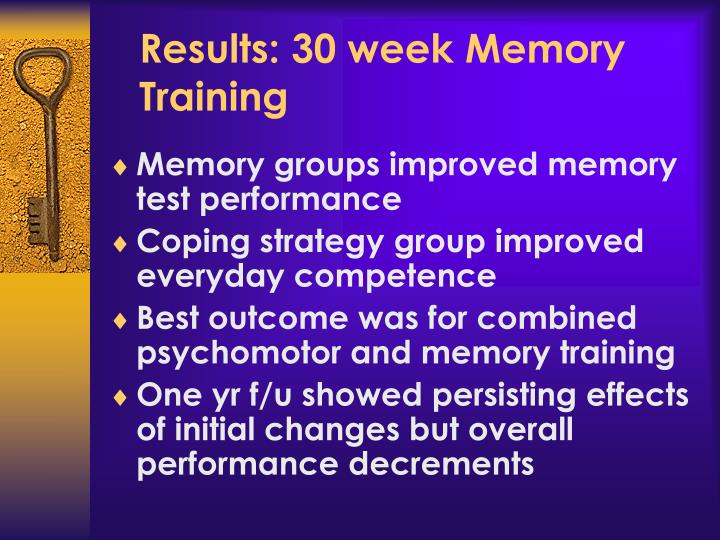 Results: 30 week Memory Training