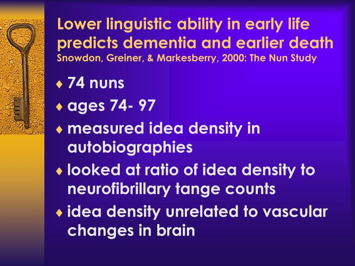 Lower linguistic ability in early life predicts dementia and earlier death