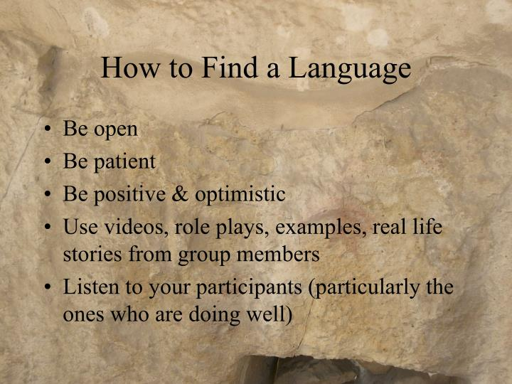 How to Find a Language