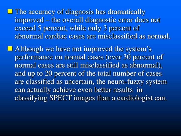 The accuracy of diagnosis has dramatically improved – the overall diagnostic error does not exceed 5 percent, while only 3 percent of  abnormal cardiac cases are misclassified as normal.