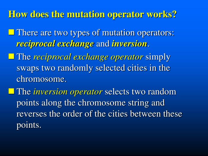 How does the mutation operator works?