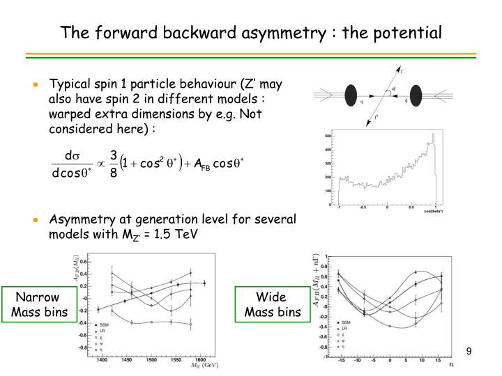 The forward backward asymmetry : the potential