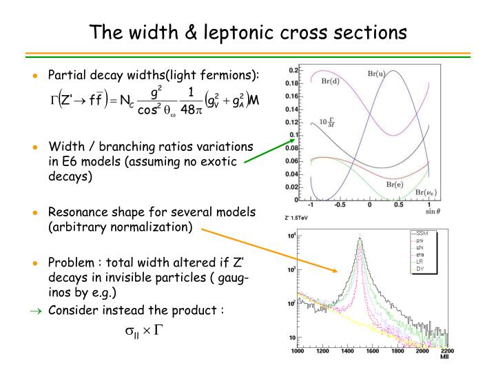 The width & leptonic cross sections