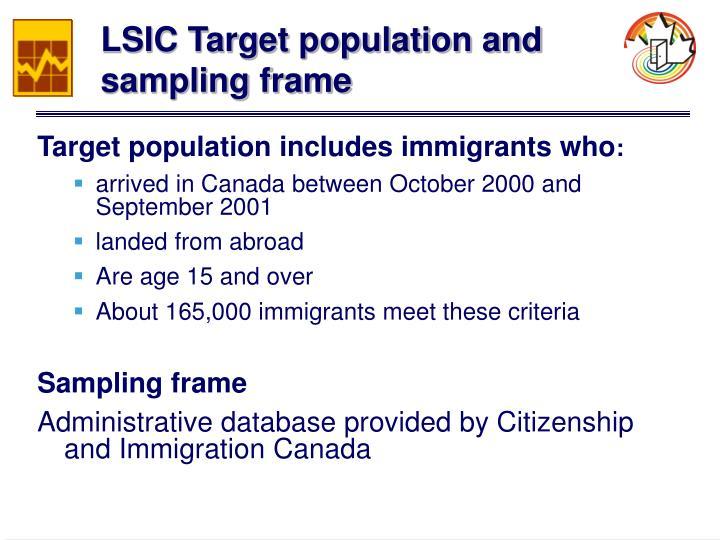 LSIC Target population and sampling frame