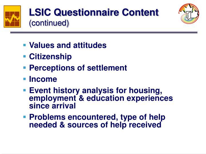 LSIC Questionnaire Content