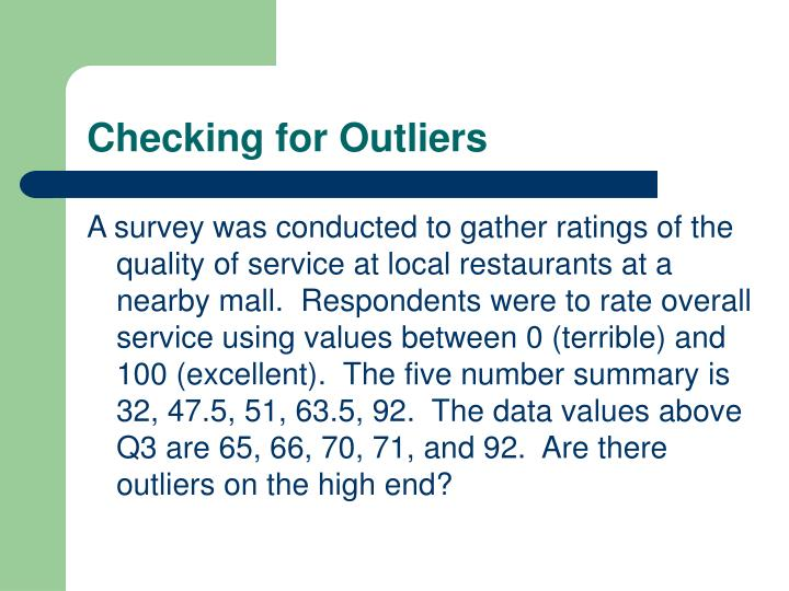Checking for Outliers