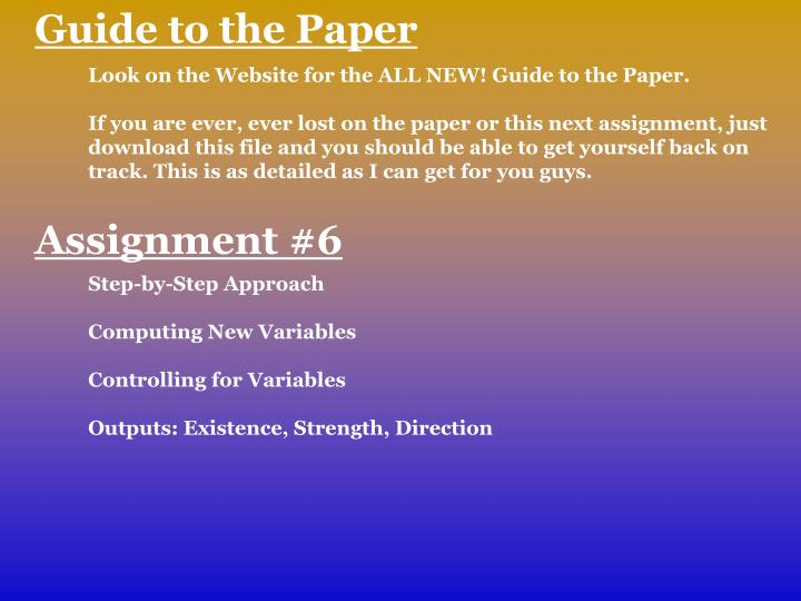 Guide to the Paper