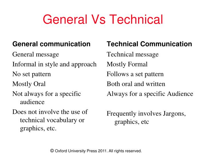General Vs Technical